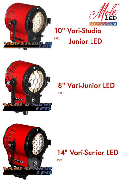 """32957517845 Last year Mole Richardson debuted is new Mole LED Variable-Color Fresnel  with the 6"""" Vari-Baby LED (250w). This year Mole Richardson expanded the  line by ..."""